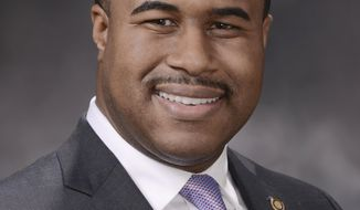 """This undated photo released by the Missouri House of Representatives, Democratic Rep. DaRon McGee, of Kansas City is seen. The Missouri lawmaker has resigned after an investigation into a sexual harassment complaint found he engaged in """"ethical misconduct"""" by repeatedly pursuing a relationship with an employee. It was printed in the House journal available Tuesday, April 30, 2019 along with a report by the House Ethics Committee finding that McGee had made repeated communications pursuing an """"amorous relationship"""" with the legislative employee. (Tim Bommel/Missouri House of Representatives via AP)"""