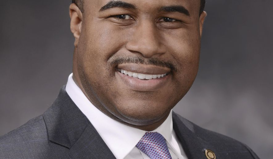 "This undated photo released by the Missouri House of Representatives, Democratic Rep. DaRon McGee, of Kansas City is seen. The Missouri lawmaker has resigned after an investigation into a sexual harassment complaint found he engaged in ""ethical misconduct"" by repeatedly pursuing a relationship with an employee. It was printed in the House journal available Tuesday, April 30, 2019 along with a report by the House Ethics Committee finding that McGee had made repeated communications pursuing an ""amorous relationship"" with the legislative employee. (Tim Bommel/Missouri House of Representatives via AP)"