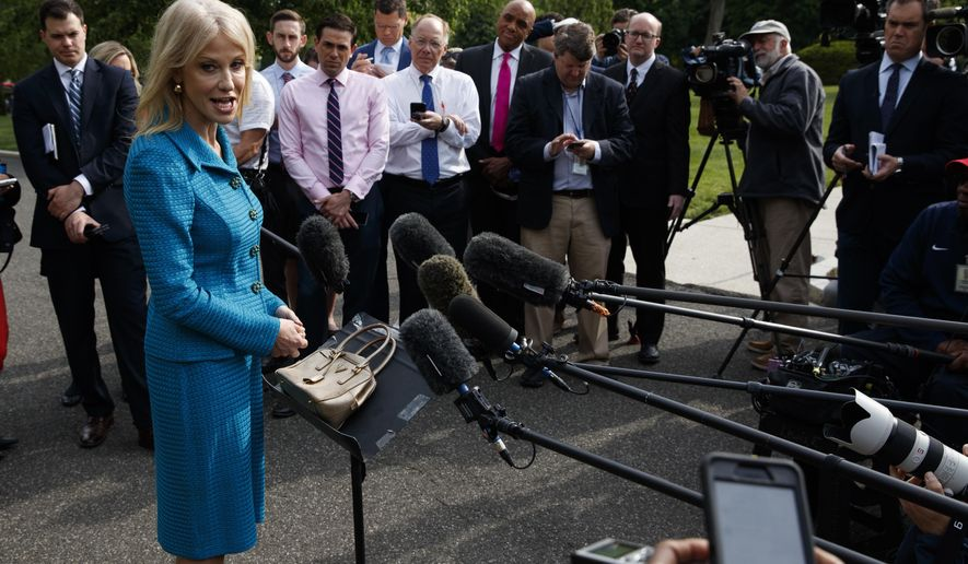 White House counselor Kellyanne Conway talks with reporters outside the White House, Tuesday, April 30, 2019, in Washington. (AP Photo/Evan Vucci)