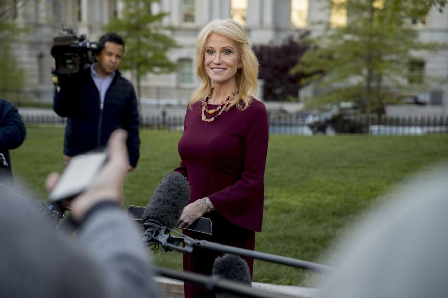 Counselor to the President Kellyanne Conway speaks to members of the media outside the West Wing of the White House, Tuesday, April 16, 2019, in Washington. (AP Photo/Andrew Harnik)