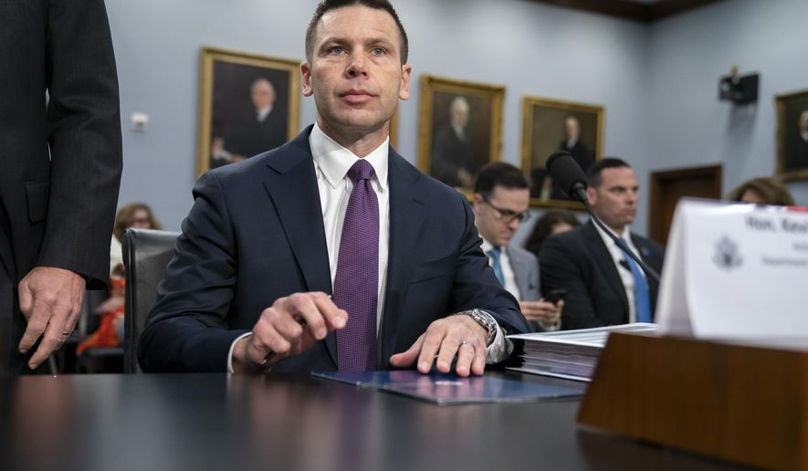 "Acting-Homeland Security Secretary Kevin McAleenan prepares for a House Appropriations subcommittee hearing on his agency's future funding, on Capitol Hill in Washington, Tuesday, April 30, 2019. McAleenan, who is also the commissioner of U.S. Customs and Border Protection, was directed Monday by President Donald Trump to take additional measures to overhaul the asylum system, which he insists ""is in crisis"" and plagued by ""rampant abuse."" (AP Photo/J. Scott Applewhite)"