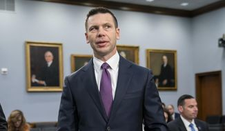 """Acting Homeland Security Secretary Kevin McAleenan prepares for a House Appropriations subcommittee hearing on his agency's future funding, on Capitol Hill in Washington, Tuesday, April 30, 2019. McAleenan, who is also the commissioner of U.S. Customs and Border Protection, was directed Monday by President Donald Trump to take additional measures to overhaul the asylum system, which he insists """"is in crisis"""" and plagued by """"rampant abuse."""" (AP Photo/J. Scott Applewhite) **FILE**"""