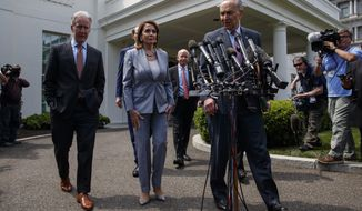 Speaker of the House Nancy Pelosi of Calif., and Senate Minority Leader Sen. Chuck Schumer of N.Y., walk over to speak with reporters after meeting with President Donald Trump about infrastructure, at the White House, Tuesday, April 30, 2019, in Washington. From left, House Ways and Mean Committee Chairman Rep. Richard Neal, D-Mass., Sen. Ron Wyden, D-Ore., Pelosi, Chairman of the House Transportation and Infrastructure Committee Rep. Peter DeFazio, D-Ore., and Schumer. (AP Photo/Evan Vucci)