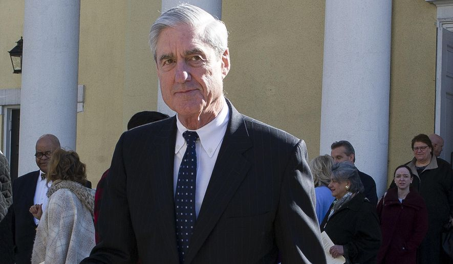In this March 24, 2019, file photo, special counsel Robert Mueller departs St. John's Episcopal Church, across from the White House in Washington. (AP Photo/Cliff Owen) ** FILE **