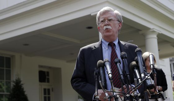 National Security Adviser John Bolton speaks about Venezuela outside the West Wing of the White House, Tuesday, April 30, 2019, in Washington. (AP Photo/Evan Vucci)