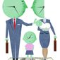 Illustration on time and earning gaps between the sexes by Alexander Hunter/The Washington Times