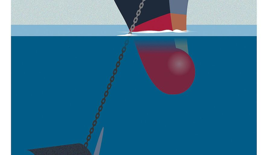 Illustration on attacks on the maritime industry by Linas Garsys/The Washington Times