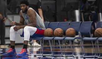 Philadelphia 76ers NBA basketball player Joel Embiid looks on during practice at the 76ers practice complex in Camden, N.J., Wednesday, May 1, 2019. Game 3 of the Eastern Conference semifinals between the 76ers and Toronto Raptors is Thursday in Philadelphia. (Jose F. Moreno/The Philadelphia Inquirer via AP)