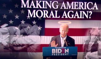 "Former Vice President Joe Biden has adopted a ""Make America Moral Again"" slogan, a play on President Trump's ""Make America Great Again"" phrase. (Image: Fox News, ""The Ingraham Angle"" screenshot)"