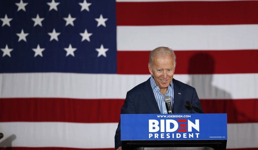 Former Vice President and Democratic presidential candidate Joe Biden speaks during a rally, Wednesday, May 1, 2019, in Iowa City, Iowa. (AP Photo/Charlie Neibergall)