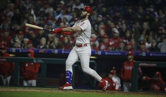 Philadelphia Phillies' Bryce Harper in action during a baseball game against the Detroit Tigers, Wednesday, May 1, 2019, in Philadelphia. (AP Photo/Matt Rourke) ** FILE **