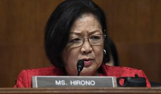 Sen. Mazie Hirono, D-Hawaii, questions Attorney General William Barr as he testifies before the Senate Judiciary Committee on Capitol Hill in Washington, Wednesday, May 1, 2019. (AP Photo/Susan Walsh) ** FILE **