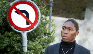 FILE - In this Monday, Feb. 18,2019 file photo, South Africa's runner Caster Semenya, current 800-meter Olympic gold medalist and world champion, arrives for the first day of her hearing at the international Court of Arbitration for Sport, CAS, in Lausanne, Switzerland. Caster Semenya will find out Wednesday, May 1, 2019 if she has won her appeal against IAAF rules to curb female runners' high natural levels of testosterone. (Laurent Gillieron/Keystone via AP) ** FILE **