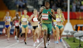 In this Tuesday, April 10, 2018 file photo South Africa's Caster Semenya runs to the finish line to win the women's 1500m final at Carrara Stadium during the 2018 Commonwealth Games on the Gold Coast, Australia. Caster Semenya lost her appeal Wednesday May 1, 2019 against rules designed to decrease naturally high testosterone levels in some female runners. (AP Photo/Mark Schiefelbein, File) **FILE**