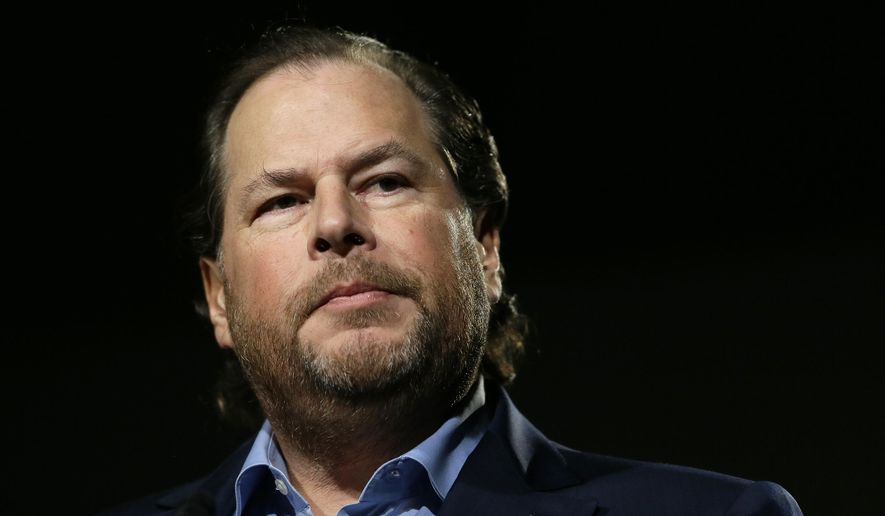 FILE - In this photo taken Tuesday, Oct. 30, 2018, Salesforce CEO Marc Benioff speaks at a luncheon in San Francisco. Salesforce CEO Marc Benioff and his wife Lynne are donating $30 million to UCSF to research the causes and potential solutions for homelessness. The five-year initiative housed at the University of California, San Francisco will conduct academic research into homelessness and train future researchers in the field. (AP Photo/Eric Risberg, File)