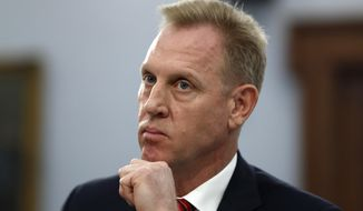 Acting Defense Secretary Patrick Shanahan listens, Wednesday, May 1, 2019, during a House Appropriations subcommittee on budget hearing on Capitol Hill in Washington. (AP Photo/Jacquelyn Martin) ** FILE **