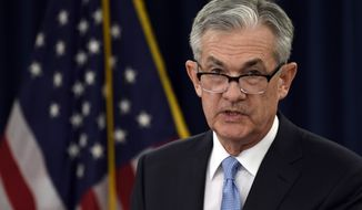 FILE - In this March 20, 2019, file photo federal Reserve Chair Jerome Powell speaks during a news conference in Washington. On Wednesday, May 1, the Federal Reserve releases its latest monetary policy statement after a two-day meeting. (AP Photo/Susan Walsh, File)