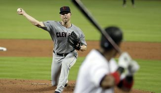 Cleveland Indians starting pitcher Corey Kluber throws to a Miami Marlins batter during the first inning of a baseball game Wednesday, May 1, 2019, in Miami. (AP Photo/Lynne Sladky)