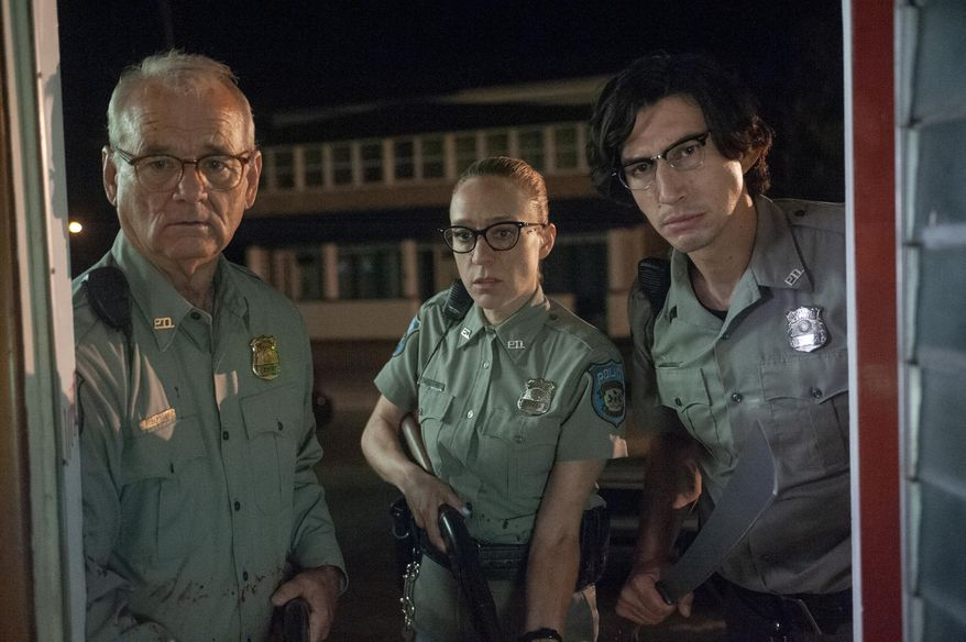 """This image released by Focus Features shows Bill Murray, from left, Chloë Sevigny and Adam Driver in a scene from """"The Dead Don't Die"""" (Abbot Genser/Focus Features via AP)"""