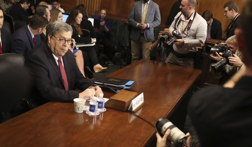 Attorney General William Barr arrives to testify during a Senate Judiciary Committee hearing on Capitol Hill in Washington, Wednesday, May 1, 2019, on the Mueller Report. (AP Photo/Andrew Harnik)
