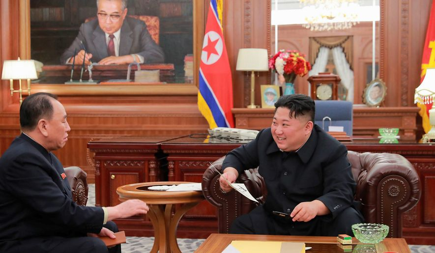 In this Wednesday, Jan. 23, 2019, photo provided on Thursday, Jan. 24, 2019, by the North Korean government, North Korean leader Kim Jong-un, right, meets Kim Yong-chol, who traveled to Washington to discuss denuclearization talks, in Pyongyang. (Korean Central News Agency/Korea News Service via AP)