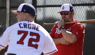 Washington Nationals pitching coach Derek Lilliquist, right, watches as pitcher Wil Crowe throws a bullpen session during spring training baseball practice Saturday, Feb. 16, 2019, in West Palm Beach, Fla. (AP Photo/Jeff Roberson) **FILE**
