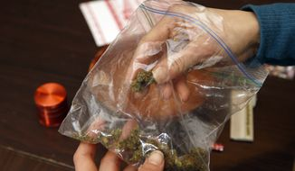 Rica Madrid poses for a photograph as she holds a bag of pot as she prepares to roll a joint in her home on the first day of legal possession of marijuana for recreational purposes, Thursday, Feb. 26, 2015, in Washington. Democratic Mayor Muriel Bowser defied threats from Congress by implementing a voter-approved initiative on Thursday, making the city the only place east of the Mississippi River where people can legally grow and share marijuana in private. (AP Photo/Alex Brandon)