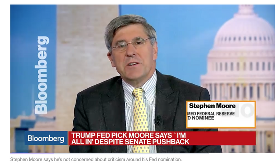 Stephen Moore makes a recent appearance on Bloomberg News. (screen shot) ** FILE **