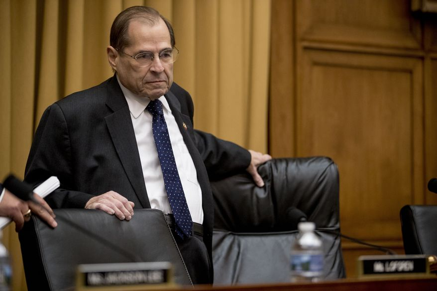 Judiciary Committee Chairman Jerrold Nadler, D-N.Y., arrives for a House Judiciary Committee hearing on Capitol Hill in Washington, Thursday, May 2, 2019. The House Judiciary Committee witness chair will be without its witness this morning, Attorney General William Barr, who informed the Democrat-controlled panel he will skip a scheduled hearing on special counsel Robert Mueller's report, escalating an already acrimonious battle between Democrats and the Justice Department. (AP Photo/Andrew Harnik)