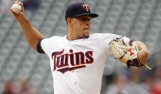 Minnesota Twins pitcher Jose Berrios throws against the Houston Astros in the first inning of a baseball game Thursday, May 2, 2019, in Minneapolis. (AP Photo/Jim Mone)