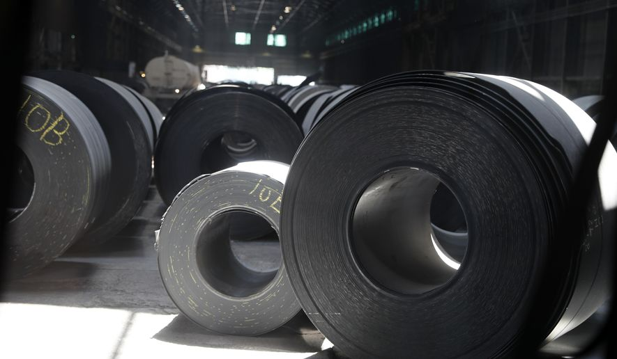 In this June 28, 2018, file photo, rolls of finished steel are seen at the U.S. Steel Granite City Works facility in Granite City, Ill. United States Steel Corp. reports financial results Thursday, May 2, 2019. (AP Photo/Jeff Roberson, File)