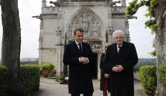French President Emmanuel Macron and Italian President Sergio Mattarella visit the Chateau d'Amboise to commemorate the 500th anniversary of the death of Italian renaissance painter and scientist Leonardo da Vinci at the Chateau d'Amboise, in Amboise, south of Paris, France, Wednesday, May 2, 2019. (Philippe Wojazer, Pool via AP)