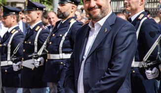 Italian deputy premier and Interior Minister Matteo Salvini attends the inauguration ceremony of a new police station in Corleone, Sicily, Italy, Thursday, April 25, 2019. As most Italian leaders are holding observances on Liberation Day, which celebrates the end of the country's fascist dictatorship during World War II, the Interior Minister didn't take part at any official celebrations.  (Francesco Militello Mirto)