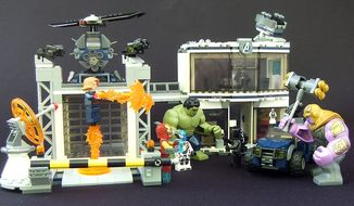 Lego's Avengers Compound Battle includes seven mini-figures, two vehicles and two buildings. (Photograph by Joseph Szadkowski / The Washington Times)