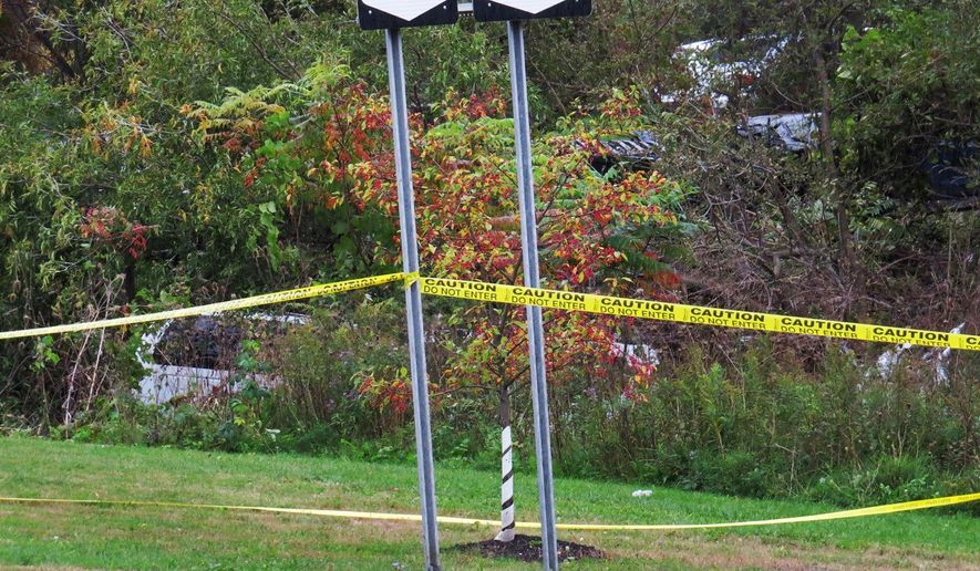 FILE - In this Oct. 6, 2018, file photo, a limousine, left, has landed in the woods following a fatal crash in Schoharie, N.Y. Twenty people died in the crash in rural Schoharie County involving a stretch limo that authorities have said should not have been on the road. During a legislative hearing Thursday, May 2, 2019 in Albany, N.Y., several parents of people killed in recent limousine crashes in New York called for stronger limo inspection rules; seat belts and air bags in all limos; as well as better enforcement to ensure vehicles and drivers have proper licenses. (Tom Heffernan Sr. via AP, File)