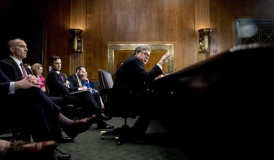 Attorney General William Barr testifies during a Senate Judiciary Committee hearing on Capitol Hill in Washington, Wednesday, May 1, 2019, on the Mueller Report. (AP Photo/Andrew Harnik)