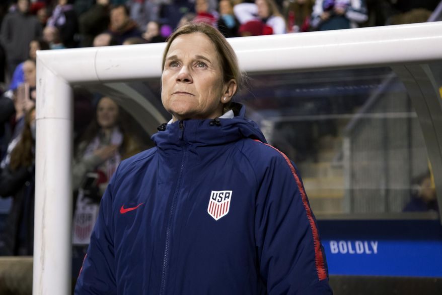 In this Feb. 27, 2019, file photo, USA head coach Jill Ellis looks on before the first half of SheBelieves Cup soccer match against Japan in Chester, Pa. (AP Photo/Chris Szagola, File)