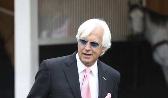Trainer Bob Baffert is seen at Churchill Downs Friday, May 3, 2019, in Louisville, Ky. Baffert will saddle three runners in the 145th running of the Kentucky Derby, scheduled for Saturday, May 4. (AP Photo/Gregory Payan) **FILE**
