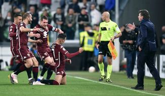 Torino's Sasa Lukic, center, celebrates after scoring the first goal of the game during the Italian Serie A soccer match between Juventus FC and Torino FC at the Allianz Stadium in Turin, Italy, Friday, May 3, 2019. (Alessandro Di Marco/ansa via AP)