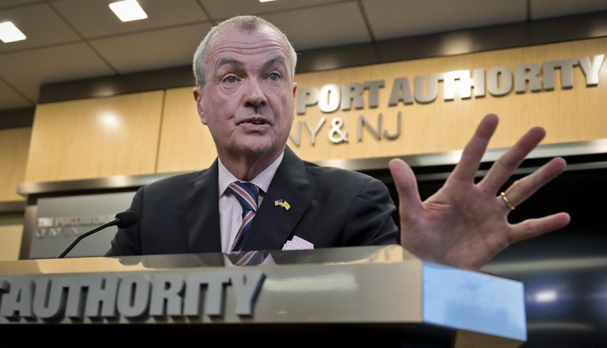 New Jersey Gov. Phil Murphy speaks during a press conference after lobbying for the Gateway Project before a Congressional delegation at Port Authority headquarters, Friday, May 3, 2019, in New York. (AP Photo/Bebeto Matthews) ** FILE **
