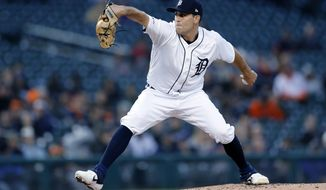 Detroit Tigers starting pitcher Matthew Boyd throws during the fourth inning of the team's baseball game against the Kansas City Royals, Friday, May 3, 2019, in Detroit. (AP Photo/Carlos Osorio)