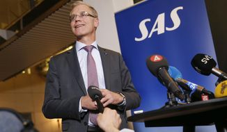 President and CEO of Scandinavian Airlines (SAS) Rickard Gustafson speaks during a press conference at the company's headquarters in Frosundavik, Stockholm, Thursday, May 2, 2019. (Fredrik Persson/TT News Agency via AP)