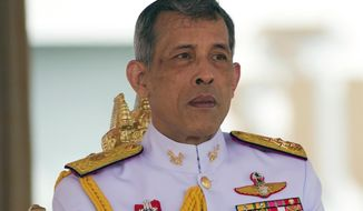 FILE -  In this May 12, 2017, file photo, Thailand's King Maha Vajiralongkorn addresses the audience at the royal ploughing ceremony in Bangkok, Thailand. Three days of elaborate centuries-old ceremonies begin Saturday, May 4, 2019, for the formal coronation of Thailand's King Maha Vajiralongkorn, who has been on the throne for more than two years. What Vajiralongkorn - also known as King Rama X, the 10th king of the Chakri dynasty - will do with the power and influence that venerated status confers is still not clear. (AP Photo/Sakchai Lalit, File)