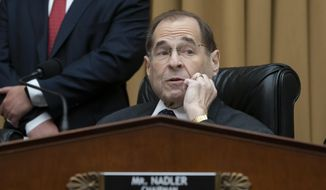 House Judiciary Committee Chair Jerrold Nadler, D-N.Y., waits to start a hearing on the Mueller report without witness Attorney General William Barr who refused to appear, on Capitol Hill in Washington, Thursday, May 2, 2019. (AP Photo/J. Scott Applewhite)