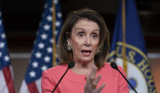 Speaker of the House Nancy Pelosi, D-Calif., talks to the media at a news conference on Capitol Hill in Washington, Thursday, May 2, 2019. (AP Photo/J. Scott Applewhite)