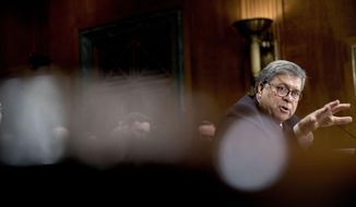 Attorney General William Barr testifies during a Senate Judiciary Committee hearing on Capitol Hill in Washington, Wednesday, May 1, 2019, on the Mueller Report. (AP Photo/Andrew Harnik) **FILE**