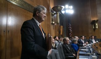 Sen. John Kennedy, R-La., a member of the Senate Judiciary Committee, listens as Democratic lawmakers question Attorney General William Barr about special counsel Robert Mueller's Russia report, on Capitol Hill in Washington, Wednesday, May 1, 2019. (AP Photo/J. Scott Applewhite)