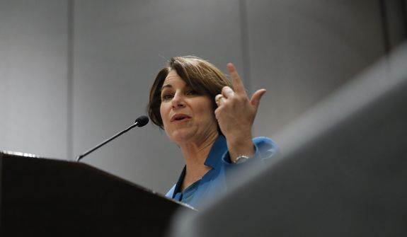 Democratic presidential candidate Sen. Amy Klobuchar, D-Minn., speaks at the National Organization of Black County Officials annual Economic Development Conference in Detroit, Friday, May 3, 2019. (AP Photo/Paul Sancya)