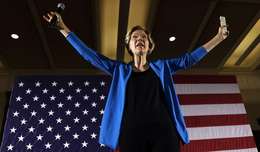 """When you get that rich, it shouldn't be just your real estate [that is taxed]. It should be the stock portfolio, the diamonds, the Rembrandt and the yacht,"" Sen. Elizabeth Warren, Massachusetts Democrat, said. (Associated Press)"
