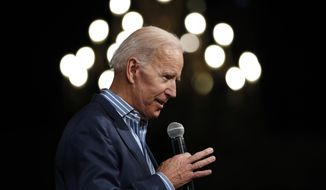 Former Vice President and Democratic presidential candidate Joe Biden speaks during a rally, Wednesday, May 1, 2019, in Des Moines, Iowa. (AP Photo/Charlie Neibergall)